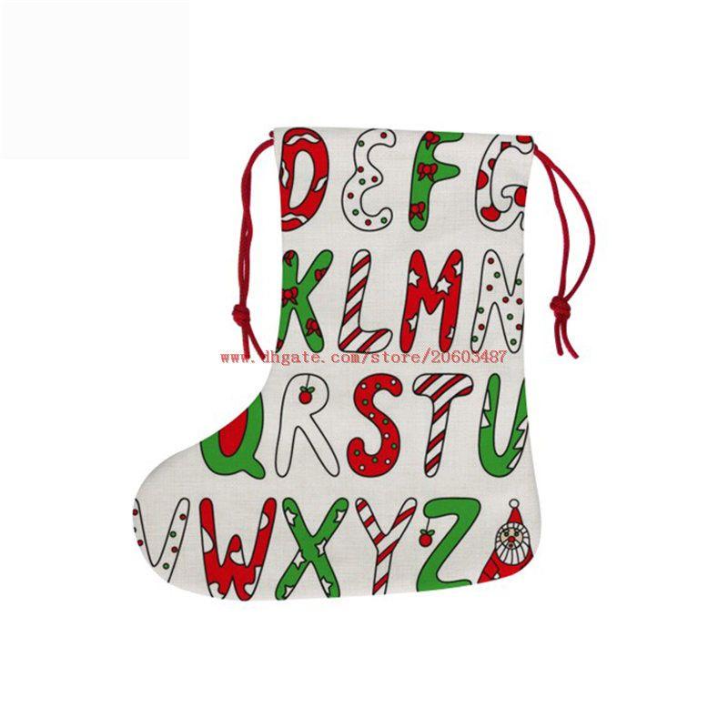 جديد التسامي عيد الميلاد تخزين القطن الكتان عيد الميلاد الديكور الجوارب الساخنة نقل الطباعة المواد الاستهلاكية فارغة 18 * 38CM