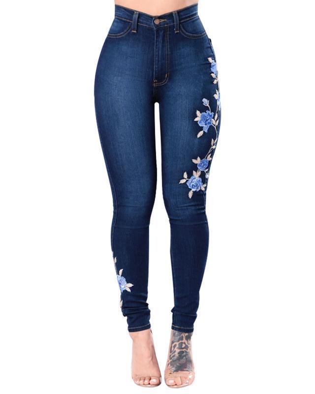 Wipalo ricamo jeans donna taglie forti 3XL a vita alta Jeans denim di pendenza signore Femme push Pants Up mamma fiore della