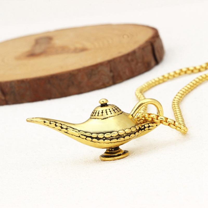 Fashion Diy Fairy Tale Magic Lamp Charm Pendant Necklace Hip Hop Metal Bulb Lighthouse Necklace Jewelry For Men Women