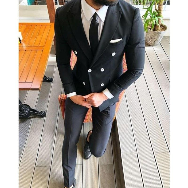 Black Best Man Slim Fit Double Breasted Wedding Suits For Men Groom Party Prom Suit Male Blazer Custom Costume Homme Mariage