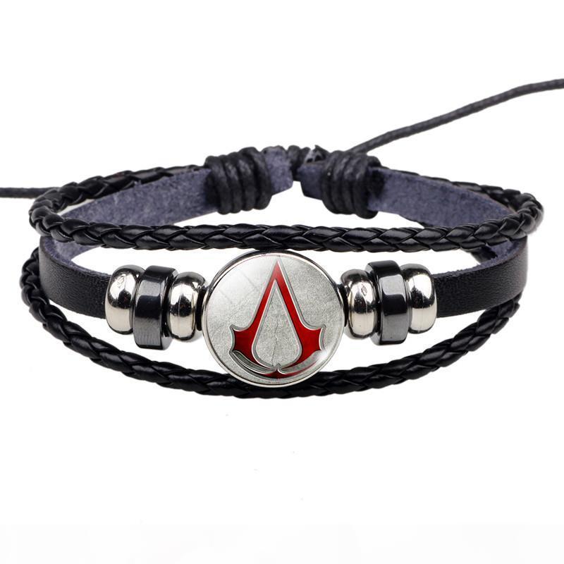 Assassin's Creed браслет горячая игра Assassins Creed дизайн Geek ювелирные изделия Мужчины Женщины черный кожаный браслет игра любовник подарок