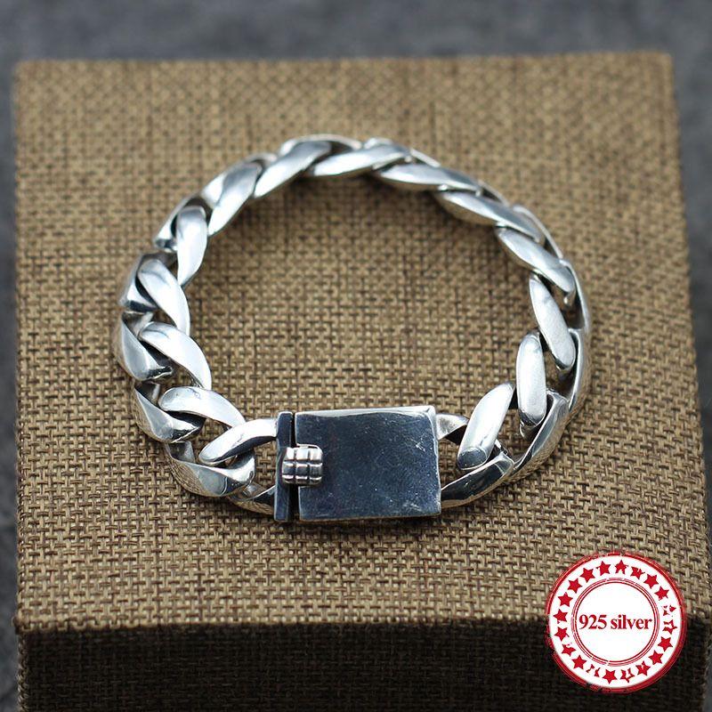 S925 мужской браслет из стерлингового серебра персонализированный ретро классический панк-стиль минималистский гладкий хип-хоп мода подарок отправить любовнику
