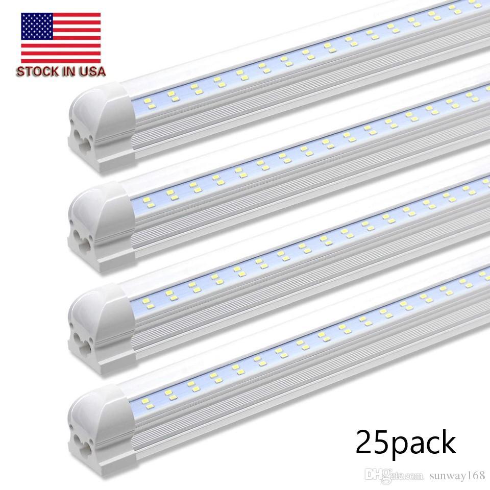 Stock Aux États-Unis + 72W 8Ft tubes led 4ft t8 intégré a conduit des tubes lumineux lignes doubles 384 lumens LED haute lumière magasin conduit