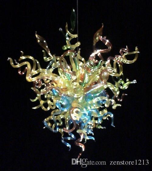 100% Usta Dmuchanie Murano Szkło Szkło Szkło Żyrandol Light Custom Made Glass Shade Light Source Chihuly Style Willa Decor Żyrandol