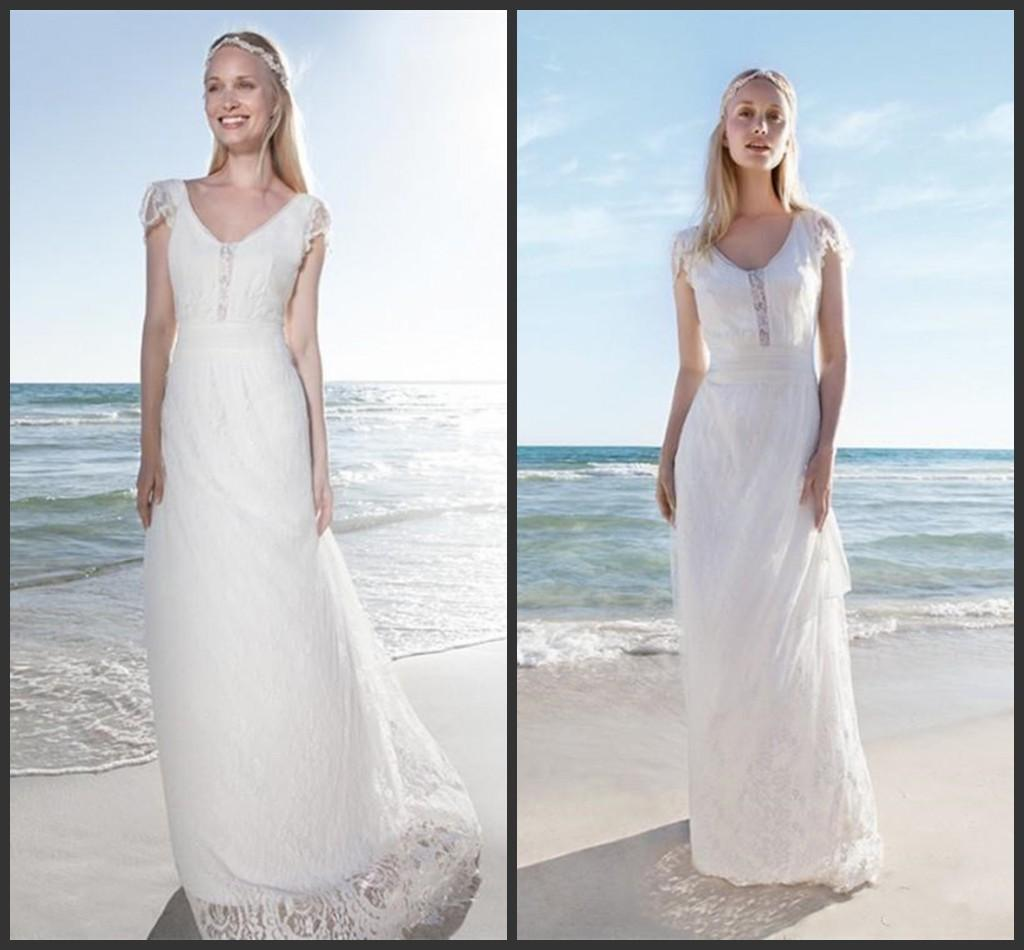 Cap Sleeve V Neck A Line Lace Wedding Dress White Ivory Beach Bridal Gowns