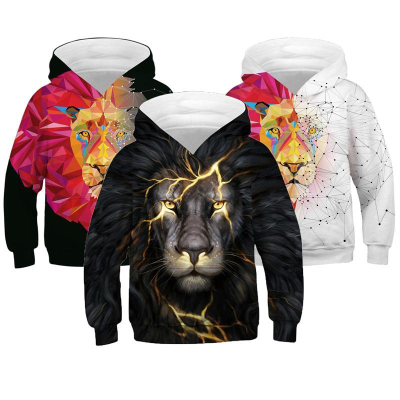 Kids 3D Animal Printed Hoodies Boys Girls Sweatshirt Zipper Coat Casual Jacket