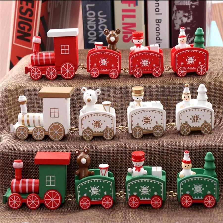 Trem bonito do natal Decoração De Natal De Madeira Pintada Para Casa Com Papai Noel Boneco De Neve Xmas Kid Brinquedos Ornamento Do Presente Navidad Presente De Ano Novo