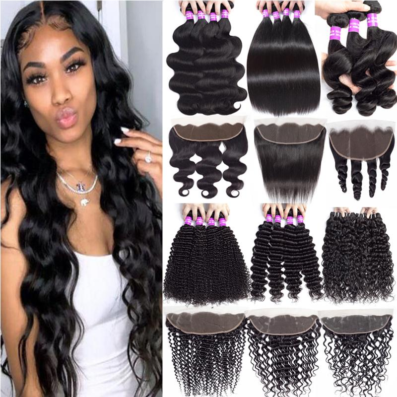 Brazilian Virgin Hair Bundles With 13x4 Lace Frontal Closure Loose Wave Human Hair Wefts With Bundles Ear to Ear Lace Frontal Hair Extension