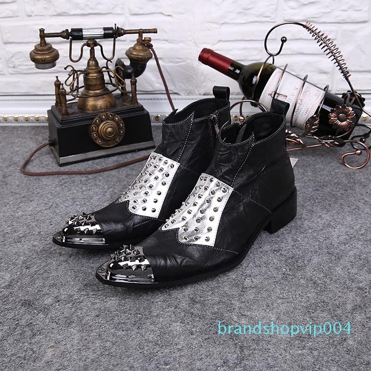 England Charakter Spitzschuh Mode Stiefel Männlich Schuhe Mischfarbe echtes Leder-Niet-Stiefel Herren-Flecken Weiß Black Metal Toe Martin Stiefel