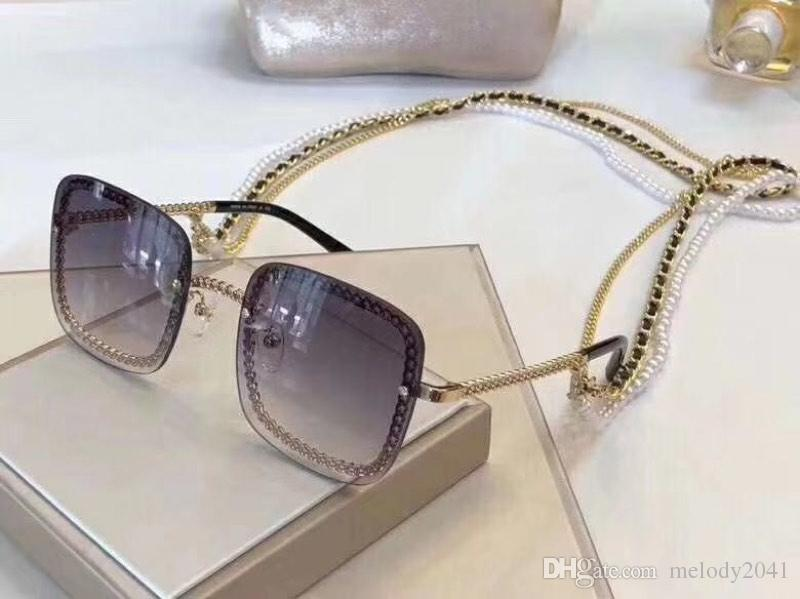 Luxury Designer Sunglasses For Women Square Chain Frame And Temples Fashion Ladies Metal Chains