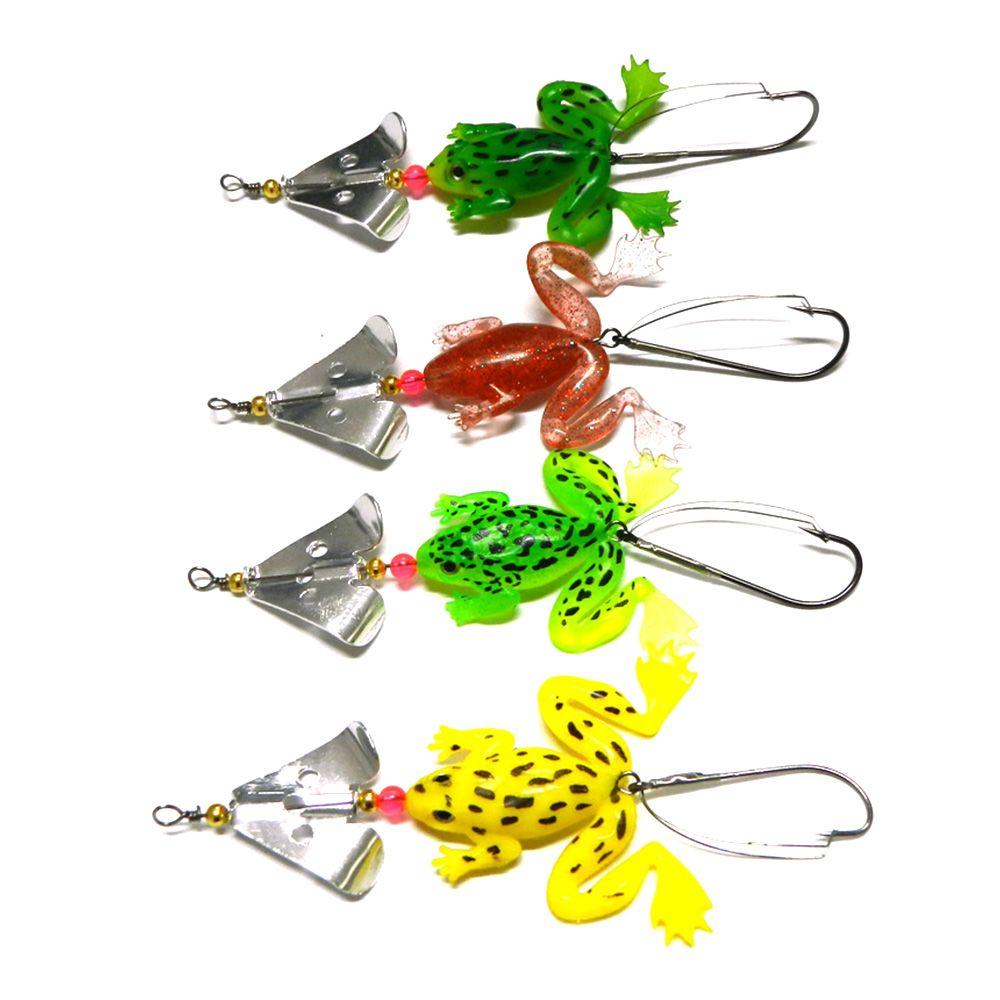 HENGJIA 4 unids / lote Rubbler Frog PCV Cebo de pesca suave 6.2g Spinner Spoon Spoon Spoon Sparkner Bass Crank Agua salada Crap Tackle de pesca
