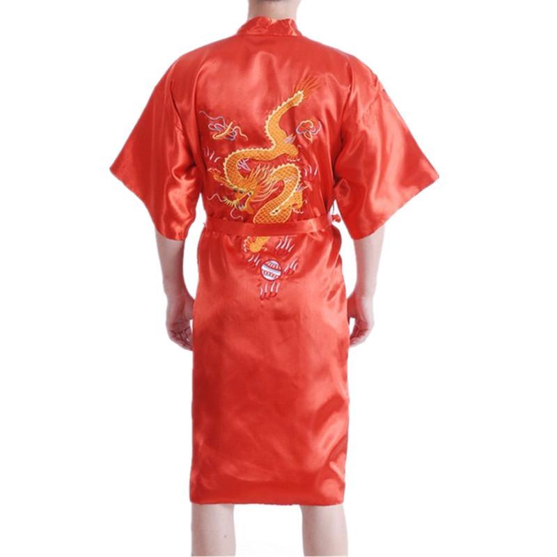 Embroidery Dragon Chinese Silk Men/'s Bathrobe Kimono Robe Gown S M L XL XXL