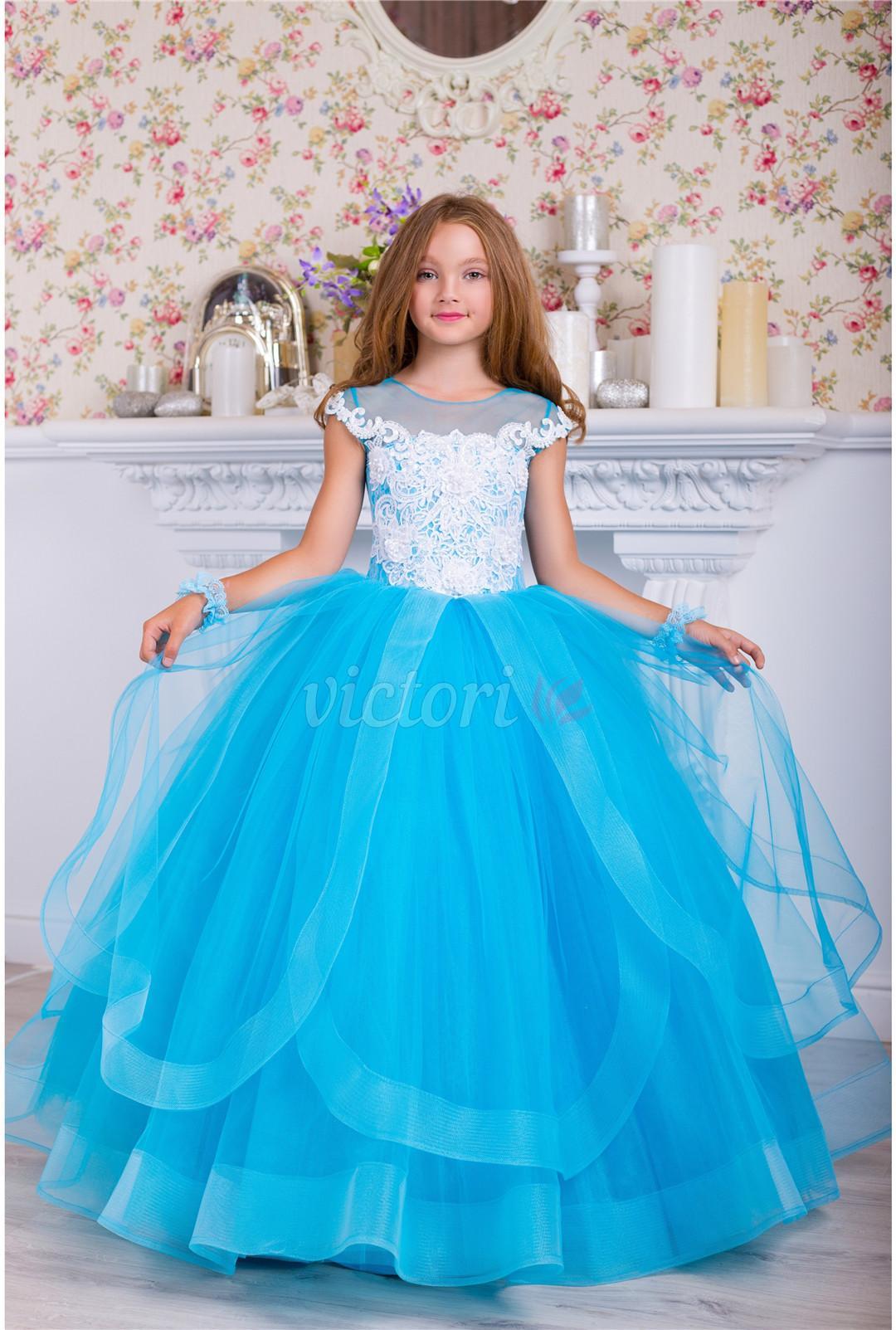 Dentelle Perlée Robe De Fille De Fleur Sheerette Cou Cap Manches Robes De Mariée Petite Fille Bel Enfant Pageant Robes Robes