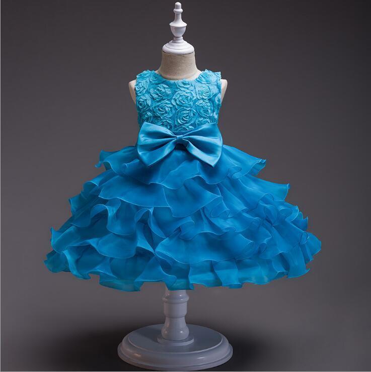 2020 yeni popüler bir çocuk gelinlik orta büyük çocuk elbise kız çiçek çocuk prenses etek nokta boyutu 110-150cm gül