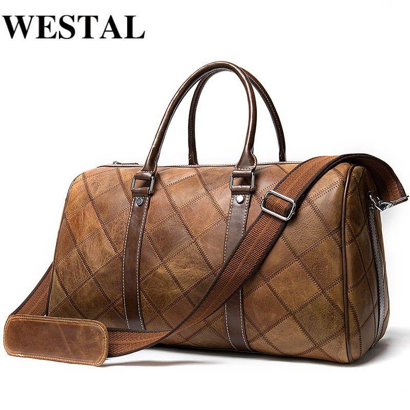 WESTAL رجالية حقائب حقيبة سفر جلدية حقيقية واق من المطر حقيبة حقيبة السفر وحمل كاري على حقائب الأمتعة الكبير / نهاية الأسبوع