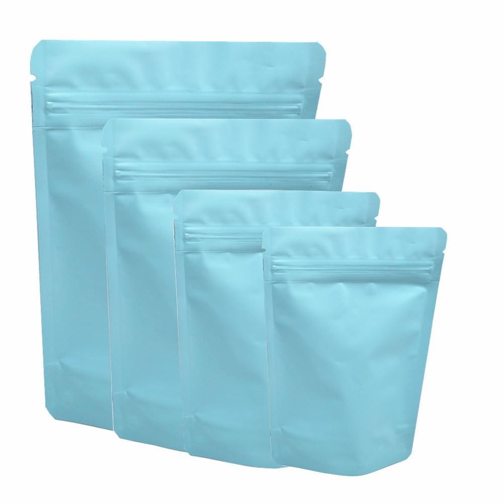 Matte Light Blue Stand Up Packaging Bags Self Sealing Pure Aluminum Foil Ziplock Bags Coffee Powder Pouches Tea Sugar Storage Bags 4 Sizes