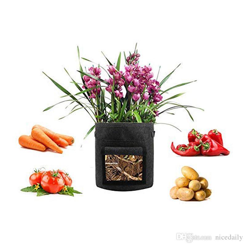 Tessuto da 10 galloni Piante nere Sacco in crescita Seme di fiori vegetali Pomodoro potatura Vasetto di aerazione Contenitore con maniglie