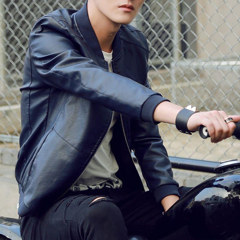 2019 новая мода ветровки мотоцикл куртка мужские кожаные куртки и пальто мужчины искусственная кожа бомбардировщик куртка мужская пальто 1498