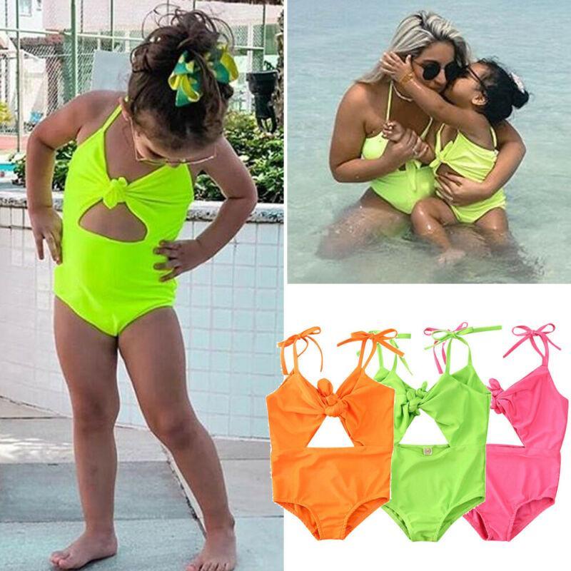 Moda Crianças Baby Girl Sling bowknot Swimsuit Swimwear Fluorescência Bikini Tankini 2020 Verão Crianças menina Maiô 1-5Y