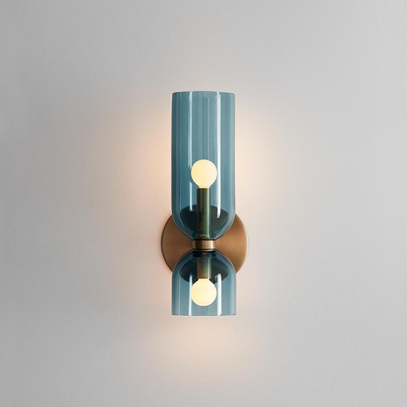 الشمال الحديثة زجاج الجدار مصباح غرفة نوم السرير الممر غرفة المعيشة Luminaria بقيادة الشمعدانات بسيط الإبداعية فن تصميم الديكور المنزلي