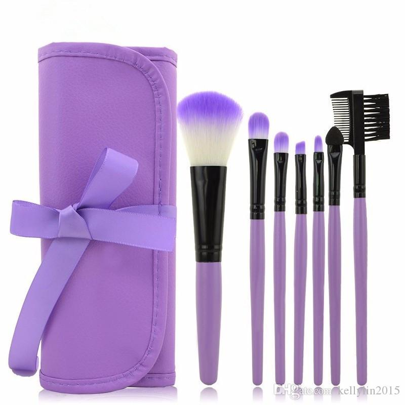 7pcs Makeup Brushes Set Blending Eyeshadow Blush Foundation Brush Tools Portable Travel Cosmetic Make Up brush Kit with PU Case Bag