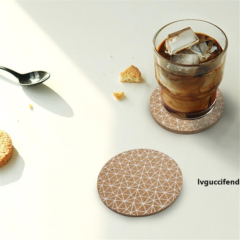 Round Line Placemat Insulation Pad Cork Dining Table Cushion Plates Coaster Household Heat Resistant Placemats Pads Bowl Coaster CT0421