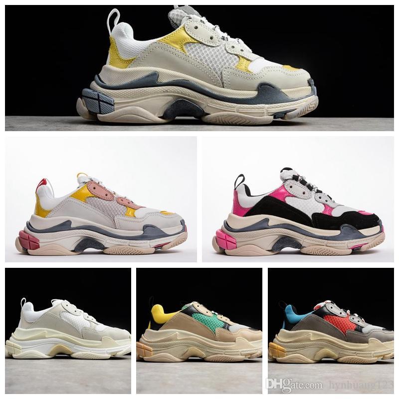 Paris 17FW Üçlü-S Rahat Ayakkabılar Lüks Baba AyakkabılarıTriple-S Sneaker Lüks Tasarımcılar Kalın taban Eski moda Büyükbaba Sneakers Trainer Açık