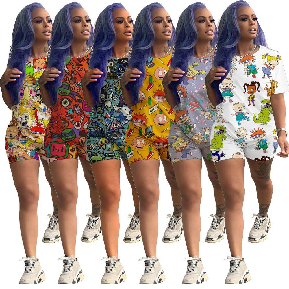 Mode Cartoon Imprimé Casual Set Femmes Designer Survêtement court Tenues manches Ensemble 2 pièces Chemise courte Chemise Pantalon de costumes du sport Clubwear