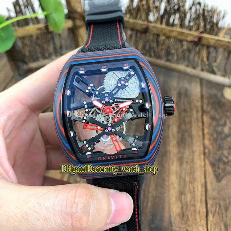 New Luminous NTPT Fiber Caso da coleção MEN Vanguard V 45 T GR CS SQT BR (NR) Red Skeleton Dial Miyota Mens Automatic Sport Watch Relógios