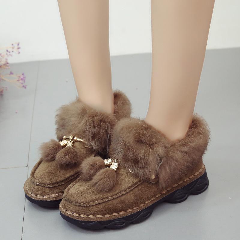 Düz Platformu Kürk Sıcak Bayanlar Ayak Bileği Kar Botları Kış Peluş Rahat Ayakkabı Kadın 2019 Akın Moda Ayakkabı üzerinde Kayma
