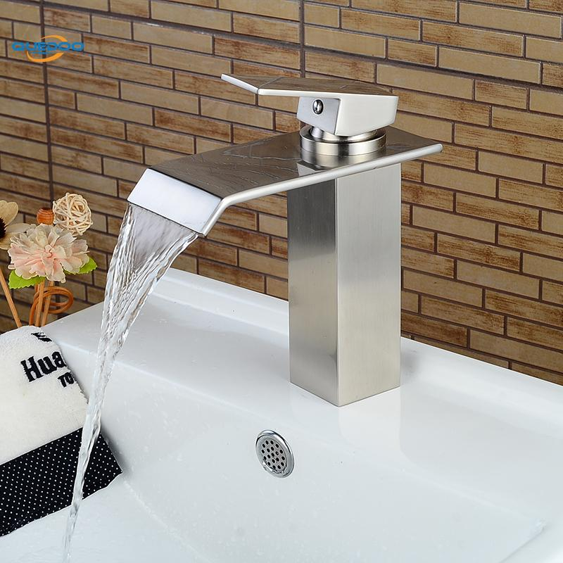 Waterfall Spout Bathroom Sink Faucet Basin Single Handle Deck Mount Brushed Nickel Finished Mixer Taps