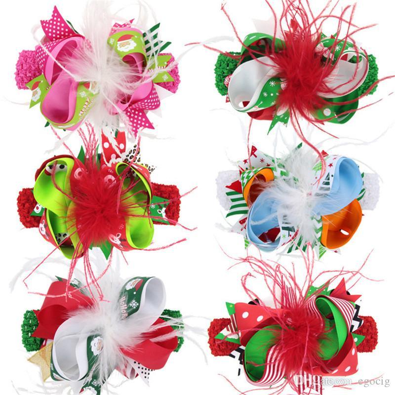 헤어 클립 귀여운 소녀 헤어핀 bowknot 어린이 모자 6 색 크리스마스 헤어 밴드 헤어 클립 깃털 크리스마스 화려한 리본 활