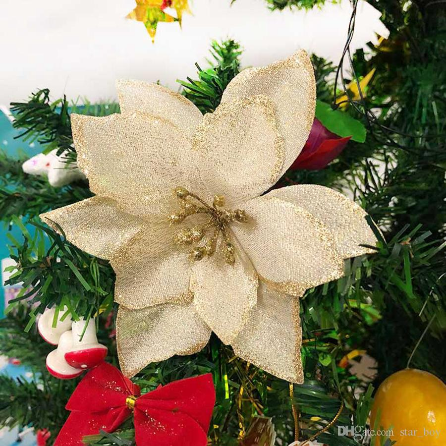2019 Artificial Flowers Christmas Decorations For Home Christmas Tree Ornaments Xmas Tree New Year Decor Navidad Glitter Poinsettia Flowers From