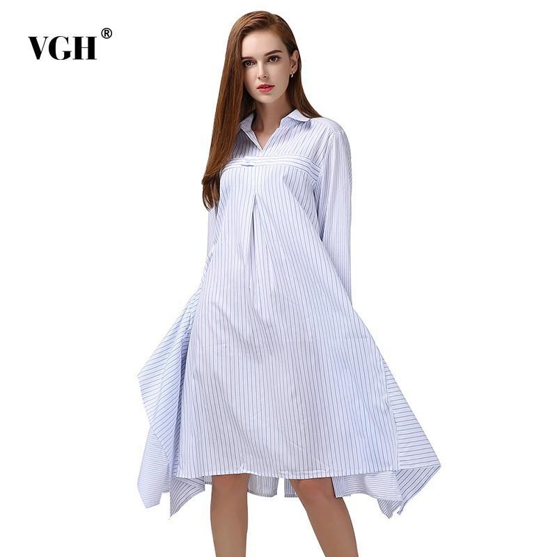 Günlük Elbiseler VGH Çizgili Kadın Elbise Uzun Kollu Yaka Yaka Yüksek Bel Asimetrik Hem Ruffles Kadın 2021 Moda