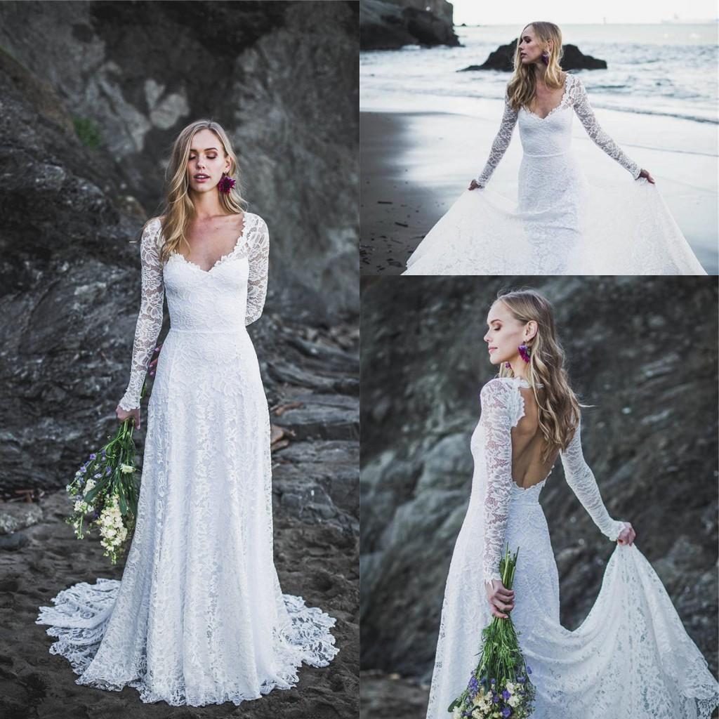 Moderne Boho Long Beach manches de dentelle robes de mariée Applique Backless bohème Robe de mariée Robe de mariée Robes de Novia robe de Marie