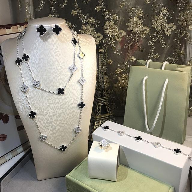 3 PCS Set Brand Women Wedding Jewelry Set 16 Flower Necklace Mother Black Onxy Grey Shell Pearl Clover Drop Earrings Bracelet Rings Set