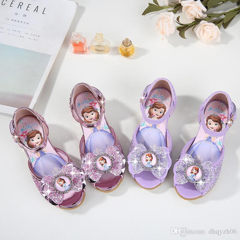 Meninas sandálias 2018 verão novas crianças de salto alto princesa sapatos de lantejoulas versão coreana do peixe da menina boca sapatos
