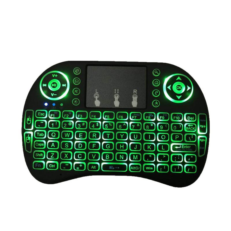 8 2.4GHZ لماوس لاسلكي الألعاب لوحات المفاتيح الأبيض الخلفي متعدد الألوان الخلفية ماوس التحكم عن بعد للتلفزيون الروبوت صناديق MXQ محترفين X96