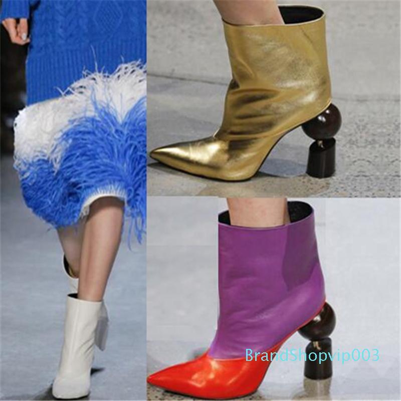 Hot Sale-New Design Merkwürdige Heel T-Stadium Modenschau Frau Stiefel Fashion Patchwork Leder Beleg auf Kurz Rom Frühling Herbst Weibliche Stiefel