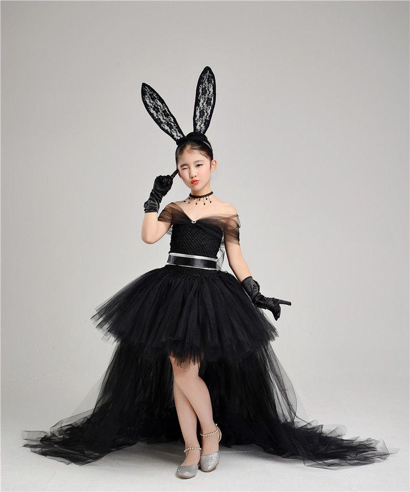 Compre Vestidos Negros Con Hombros Descubiertos Para Niñas Con Falda Desmontable Vestido De Fiesta Hinchado Faja De Encaje Tul Vestido De Fiesta Para