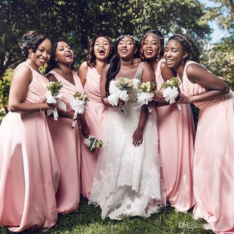 2019 Nueva A Line V Cuello Blush Pink Vestidos de dama de honor Más Tamaño Vestido de Invitado de Boda Africana de Honor Vestidos B003