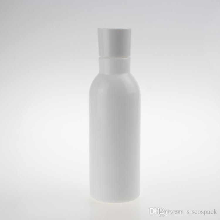 Beauty 150ml Opal Perlweiß ätherisches Öl Flasche, leer runde Glaslotionflasche mit Kunststoff-Innen Stopper und weißer Kunststoff-Abdeckung