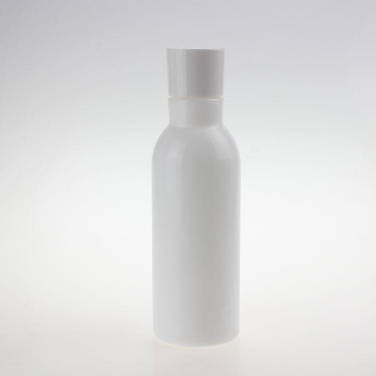 Beauty 150ml botella de aceite opal blanco perla esencial, botella de la loción redonda de vidrio vacío con el tapón interior de plástico y la cubierta de plástico blanco
