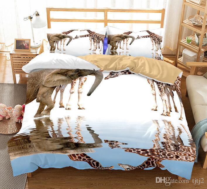 ABD AU Boyutu 3 adet Lüks Yatak Seti Yorgan Hayvan Fil Zürafa Yatak Örtüsü Set Kral Geri Okula Nevresim Set Yatak malzemeleri