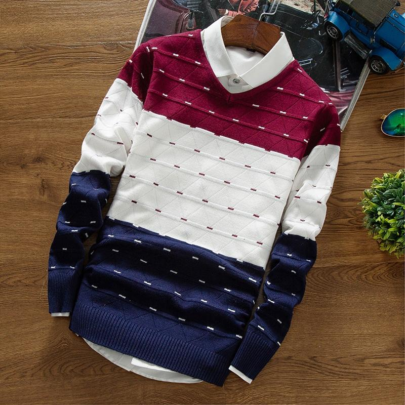 BKTrend 2018 New Autumn Brand Clothing Men's Pullover Sweaters Knitting Fashion Designer Casual Striped Man Knitwear MY854