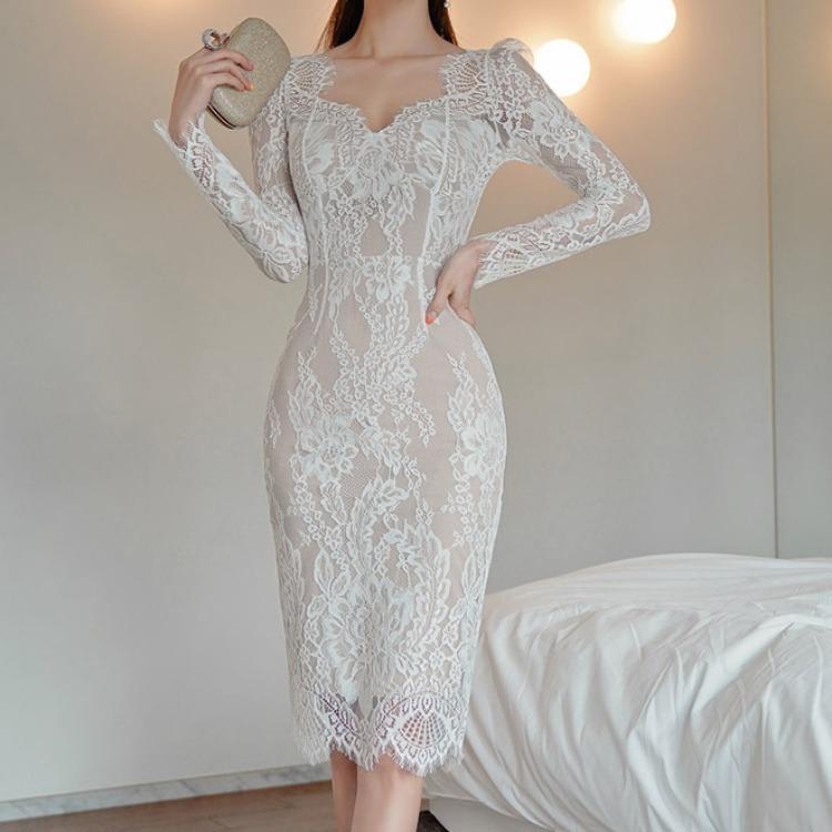 vestido de la manera del cordón inferior de la bolsa larga delgada 2020 nuevo medio celebridad coreana temperamento de las mujeres transfronterizas