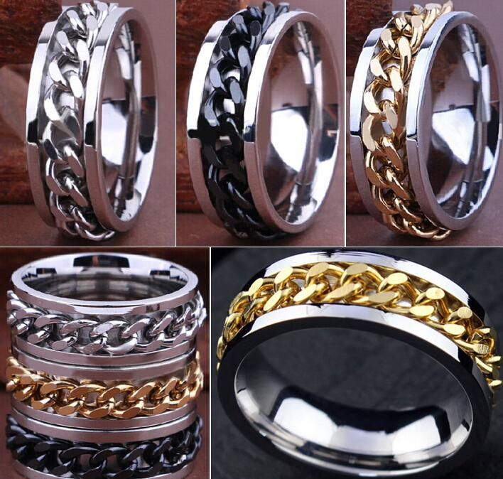 30pcs High Quality Comfort-fit Men's SPIN Chain Stainless steel Spinner Rings Wholesale Jewelry Job Lots C18112301