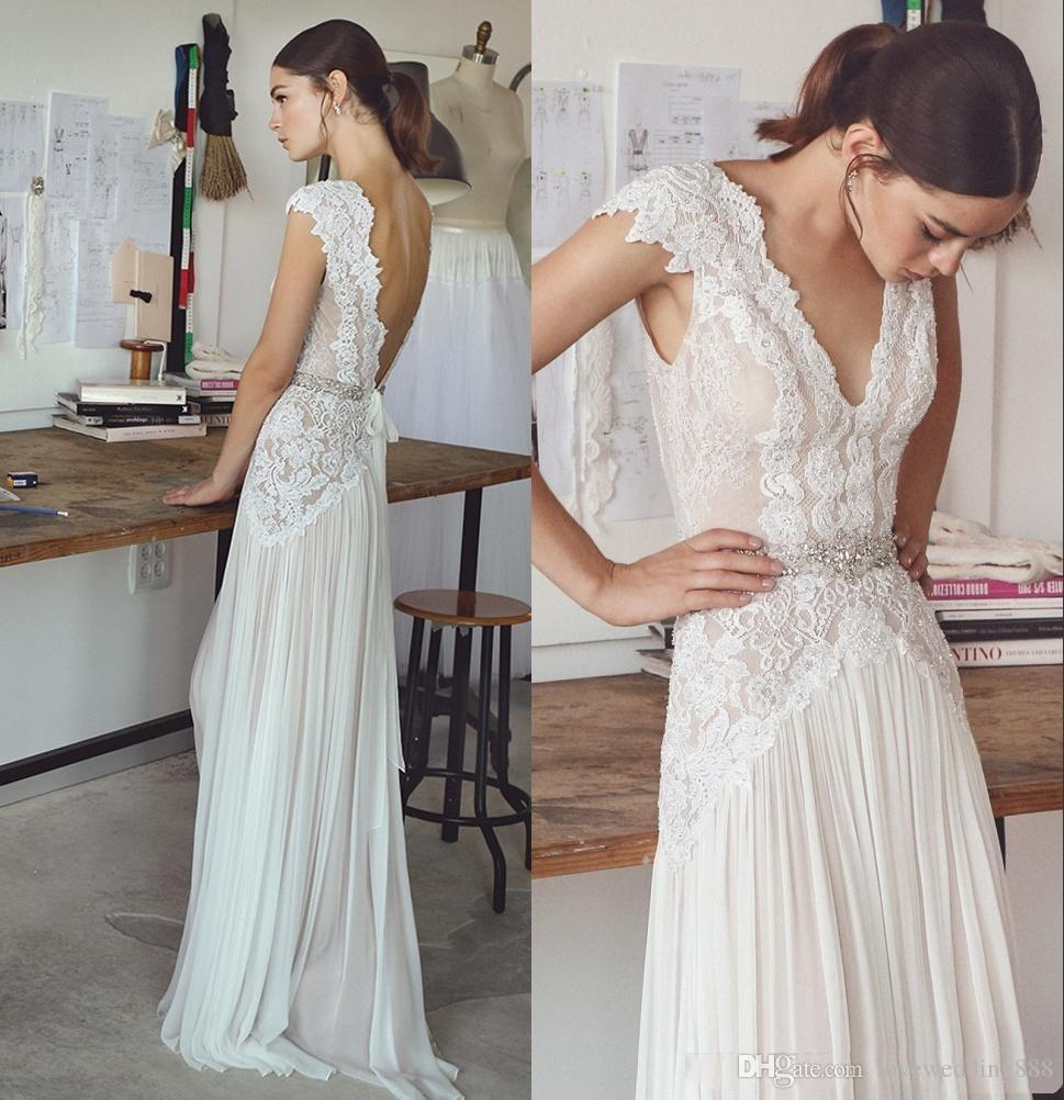 2018 Lihi Hod Wedding Dresses Boho Bridal Gowns with Capped Sleeves V Neck Sexy Backless Wedding Gowns A Line Chiffon Dress