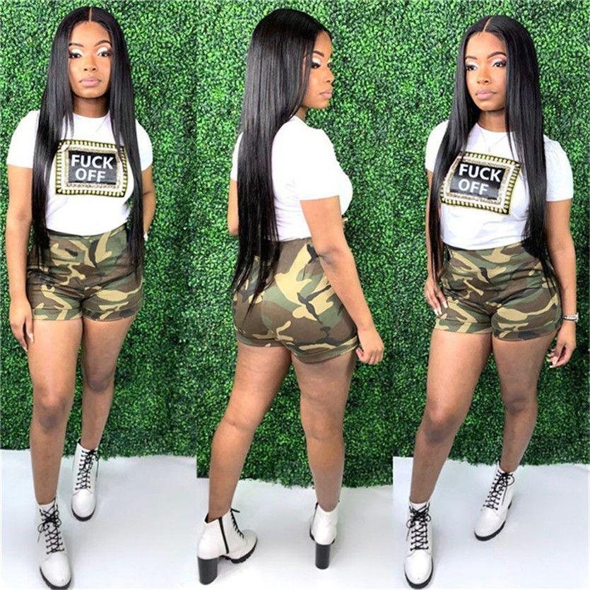 Estate Camo Shorts impostato per le donne due pezzi da magliette Shorts Tuta causale Moda Outfits Sport jogging Tuta 2020 che coprono insieme D52811