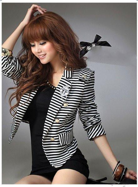 Art- und Weisegemütliche Frauenkleidung Schal-Mantel dünner wilder Klage Streifen mit Corsagejacke